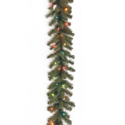 National Tree 9-Foot x 10-Inch Kincaid Spruce Garland Pre-Lit with 50 Mulitcolored Lights