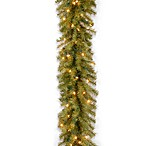 9-Foot x 10-Inch Norwood Fir Garland Pre-Lit with 50 Clear Lights