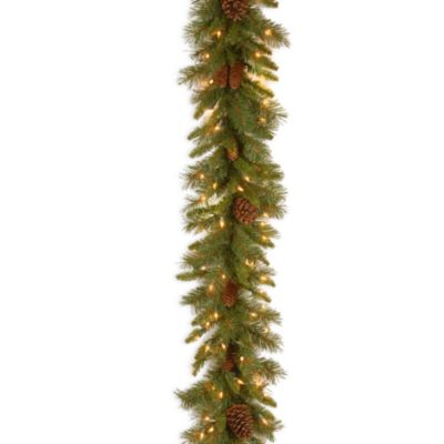 9-Foot x 10 Inch Pine Cone Garland Pre-Lit with 50 Clear Lights