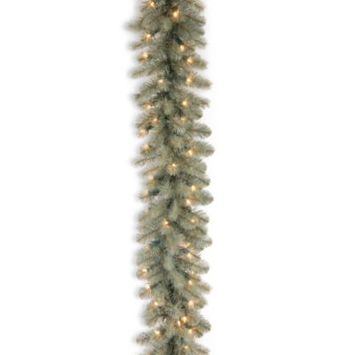 Feel-Real® 9-Foot x 12-Inch Downswept Pre-Lit Douglas Blu Fir Garland with 70 Clear Lights