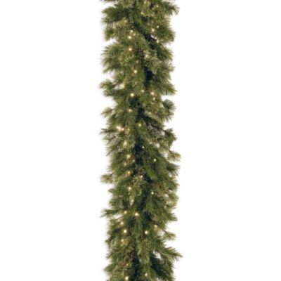 National Tree 9-Foot Wispy Willow Garland Pre-Lit with 50 Clear Lights