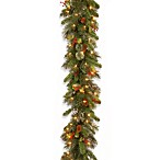9-Foot x 12-Inch Wintry Pine Garland Pre-Lit with 50 Clear Lights