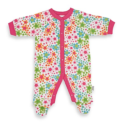 Lamaze® White Floral Snap-Up Footie
