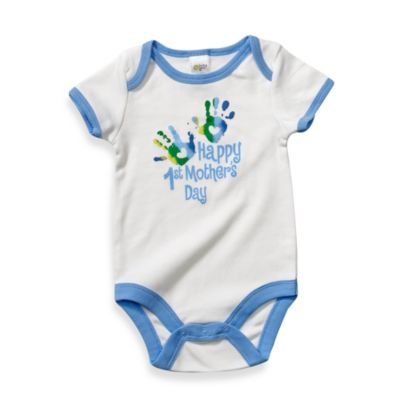 Cutie Pie® Happy 1st Mother's Day with Hand Prints White/Blue Bodysuit - 6 Months