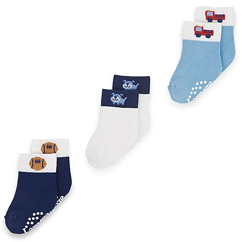 Lamaze 3-Pack Assorted Blue Socks - 9 to 12 Months