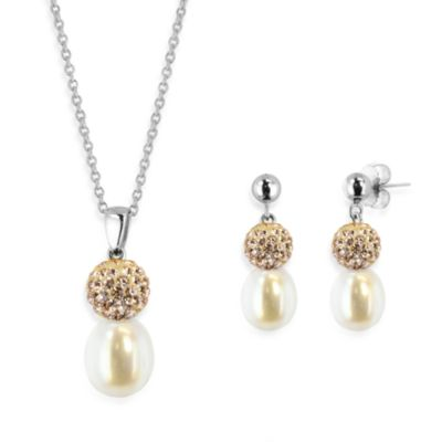 Honora Sterling Silver, 8-10mm Freshwater Cultured Pearl and Crystal Pendant w/Earring Set