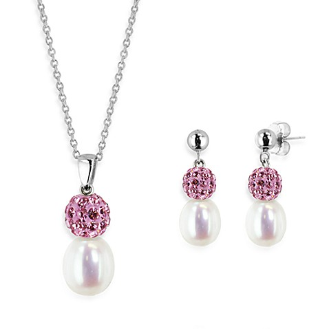 Honora Sterling Silver 8-10mm Fresh Water Cultured Pearl and Crystal Pendant w/Earring Set