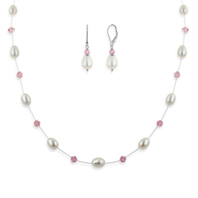 Honora Sterling Silver, 6-8mm Freshwater Cultured Pearl and Swarovski Crystal Necklace w/Earring Set