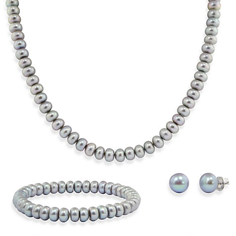 Honora Sterling Silver Freshwater Cultured Pearl Necklace, Bracelet w/ Stud Earring Set in Gray
