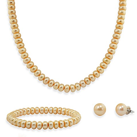 Honora Sterling Silver Freshwater Cultured Pearl Necklace, Bracelet w/ Stud Earring Set in Champagne