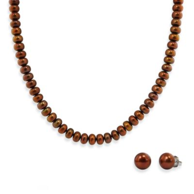 Honora Sterling Silver, Freshwater Cultured Pearl Necklace w/9-10mm Stud Earring Set in Chocolate