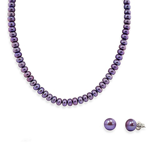 Honora Sterling Silver, Freshwater Cultured Pearl Necklace w/9-10mm Stud Earring Set in Violet