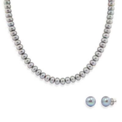 Honora Sterling Silver Fresh Water Cultured Pearl Necklace w/9-10mm Stud Earring Set in Grey