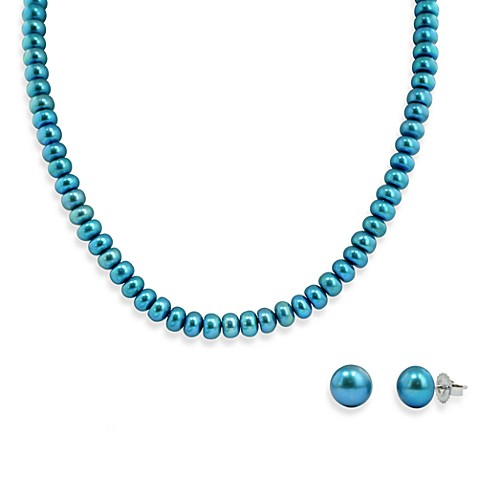 Honora Sterling Silver, Freshwater Cultured Pearl Necklace w/9-10mm Stud Earring Set in Teal