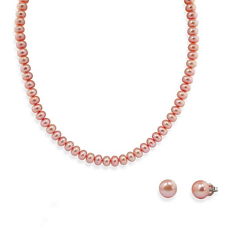 Honora Sterling Silver Fresh Water Cultured Pearl Necklace w/9-10mm Stud Earring Set in Rose