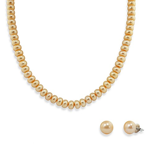 Honora Sterling Silver, Freshwater Cultured Pearl Necklace w/9-10mm Stud Earring Set in Champagne