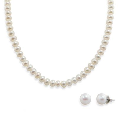 Honora Sterling Silver Fresh Water Cultured Pearl Necklace w/9-10mm Stud Earring Set in White