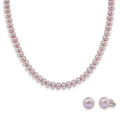 Honora Sterling Silver Fresh Water Cultured Pearl Necklace w/9-10mm Stud Earring Set in Lilac
