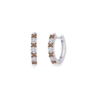 10K White Gold 1/4 cttw Brown and White Diamond Hoops