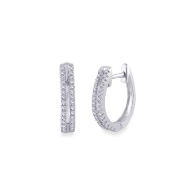 10K White Gold 1/5 cttw White Diamond Hoops