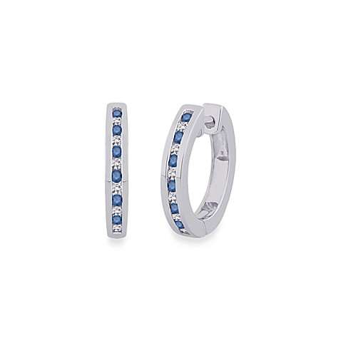 10K White Gold 1/4 cttw Blue and White Diamond Channel Hoop Earrings