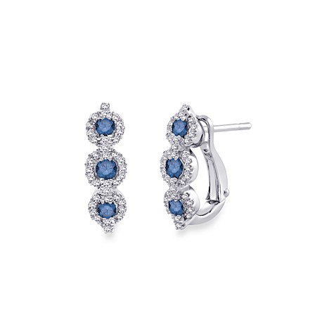10K White Gold, Blue and White Diamond Drop Dangle Earrings (1/2 cttw, G-H Color)