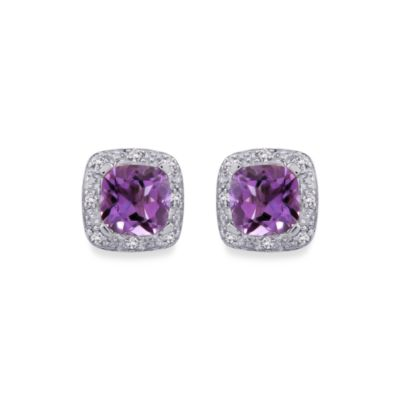 Sterling Silver 0.06 cttw Diamond and Amethyst Earrings