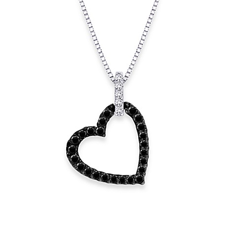 10K White Gold 1/5 cttw Black and White Diamond Heart Pendant w/18-Inch Chain