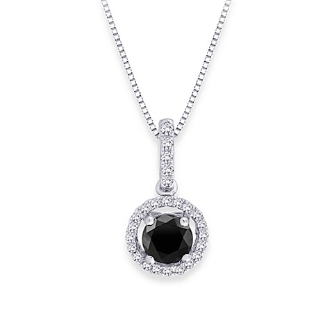 10K White Gold 1/2 cttw Black and White Diamond Pendant w/Chain