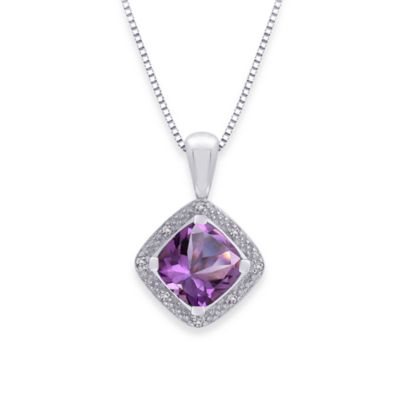 Sterling Silver .05 cttw Diamond and Amethyst Pendant w/18-Inch Chain