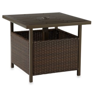 Wicker Umbrella Side Table in Bronze