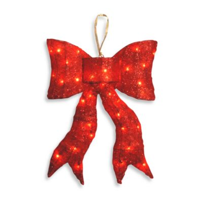 "National Tree 24"" Pre-Lit Red Sisal Holiday Bow"