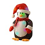 11-Inch Black Cotton Penguin with 6 Color-Changing LED Lights