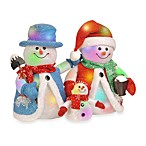 14-Inch Snowman Family with 24 Color-Changing LED Lights