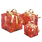 6-Inch, 10-Inch, 4-Inch Assorted Red and Gold Sisal Pre-Lit Gift Boxes with Clear Lights