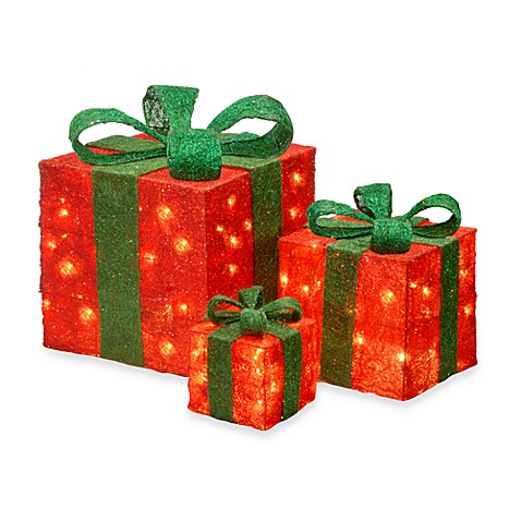 6-Inch, 10-Inch, 14-Inch Assorted Red and Green Sisal Pre-Lit Gift Boxes with Clear Lights