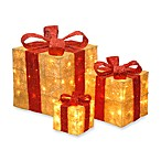 6-Inch, 10-Inch, 14-Inch Assorted Gold with Red Sisal Pre-Lit Gift Boxes with Clear Lights