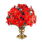 Fiber Optic 26-Inch Ice Crestwood Spruce Poinsettia Arrangement