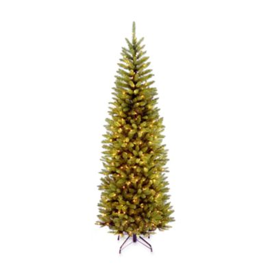 National Tree 6-1/2-Foot Kingswood Fir Hinged Pencil Tree Pre-Lit with 250 Clear Lights