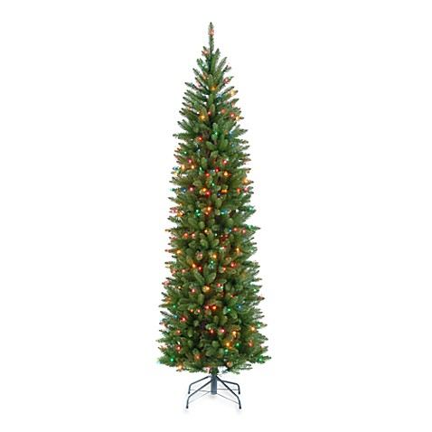 National Tree 6-1/2-foot Kingswood Fir Hinged Pencil Tree Pre-Lit with 350 Multicolored Lights