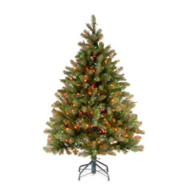 Feel-Real® 4 1/-2 Foot Downswept Pre-Lit Douglas Fir Tree with 450 Multi-Colored Lights