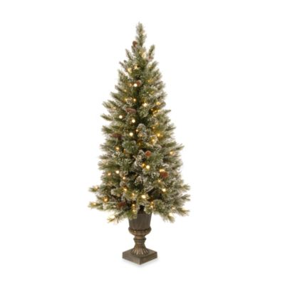 5-Foot Glittery Bristle Pine Entrance Tree Pre-Lit with 150 White Lights with Diamond Cap Covers