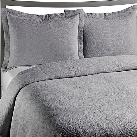 VUE™ Royal Medallion Matelasse Grey King Pillow Sham