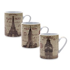 Passport City 14-Ounce Porcelain Mugs