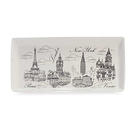 City Scene Rectangular Tray