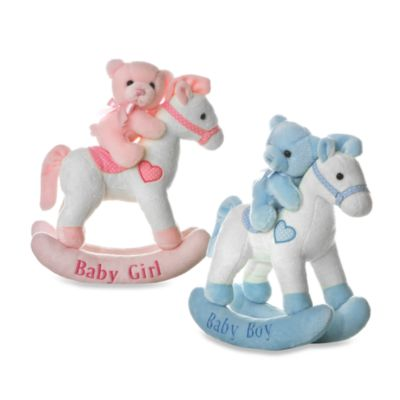 Plush > Aurora® World 12-Inch Musical Baby Boy Rocking Horse with Bear in Blue