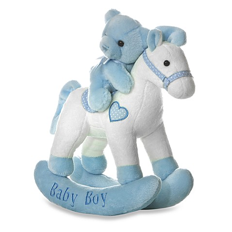 Aurora® 12-Inch Musical Baby Boy Rocking Horse with Bear in Blue