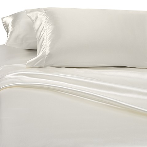 Buy satin luxury waterbed queen sheet set in bone from bed for Silk sheets queen bed bath beyond