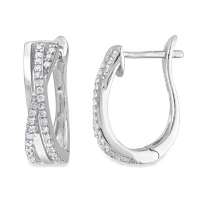 Sterling Silver 1/4 cttw Diamond Hoop Earrings