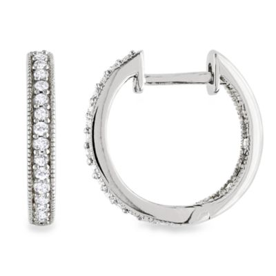 14K White Gold .25 cttw Diamond Hoop Earrings